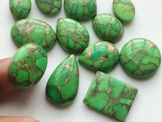 WHOLESALE 8 Pcs Green Copper Turquoise Natural by gemsforjewels