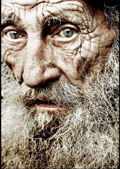 The face of a man who has lived on the street for 46 years (he is 85 years old)