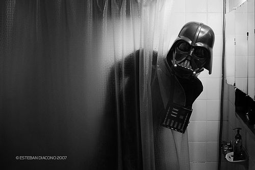 Darth Vader in the shower.  I guess it never crossed my mind...