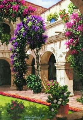 ART~ A Typical Mediterranean Courtyard With Bougainvillaea Covered Arches ~ Oil On Canvas.