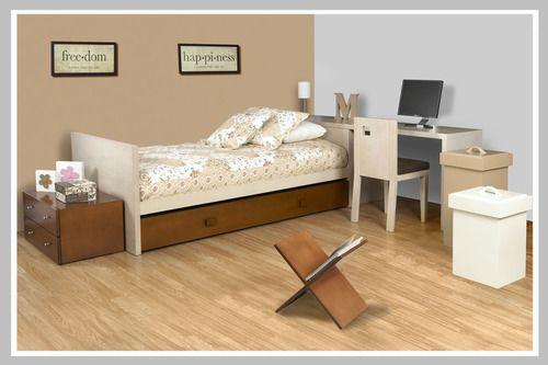 AMBIENTE NIÑA HAPPINESS Un excelente ambiente para adecuar espacios pequeños en donde se necesita un lugar de estudio. La cama tiene como espaldar el escritorio  formando una L para posicionar la silla. Su diseño minimalista es perfecto para agrandar el espacio y de esta manera poder decorarlo con objetos funcionales como un nido, ideal para las visitas.