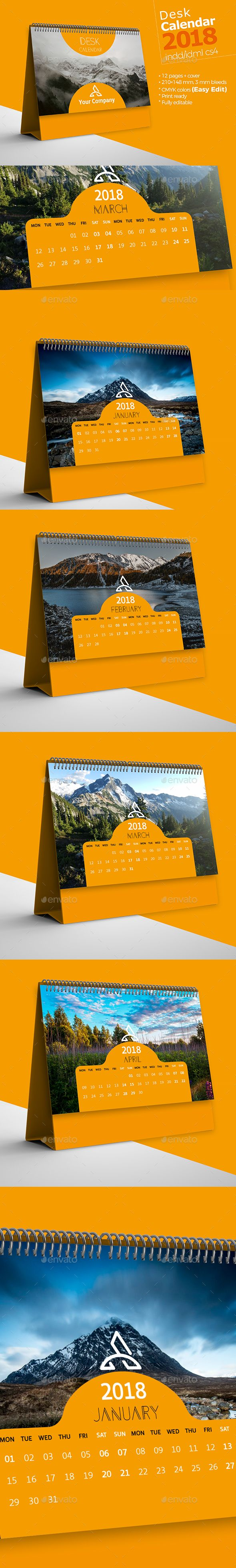 Desk Calendar 2018 — InDesign INDD #planner #year • Available here ➝ https://graphicriver.net/item/desk-calendar-2018/21059666?ref=pxcr
