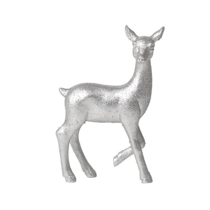 Söt liten stående ren, passar fint tillsammans med andra glittrande renar! Fin dekoration till jul och finns i både silver och guld.  Material: Polyresin Färg: Silver Mått: 9,5x3x6 cm.