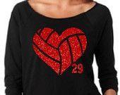 Volleyball Mom. Volleyball Glitter Heart. Off Shoulder Shirt. Custom Volleyball Shirt. Lightweight Wideneck Shirt. 3/4 Sleeve Shirt