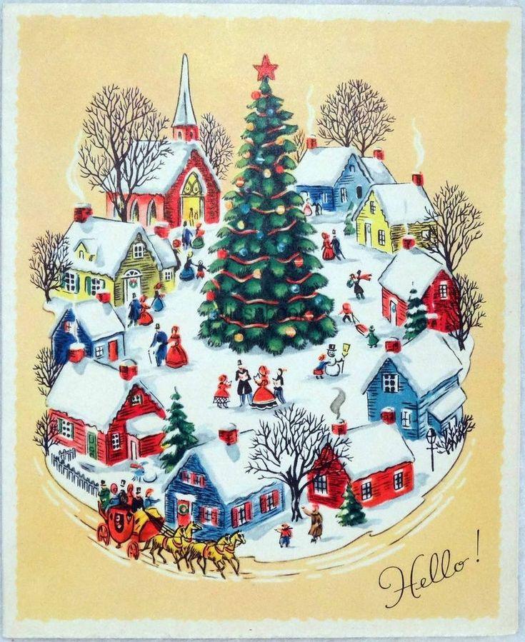 751 50s bustling town scene tree vintage christmas