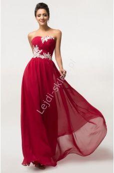 Ciemno czerwona długa suknia wieczorowa | sukienki  dla druhny | sukienki na wesele ciemne wino