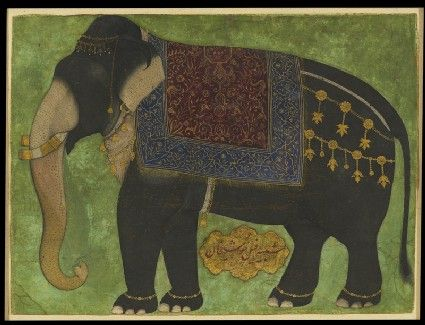 Style: Mughal; Type: Elephants, birds, and flowers; Title: 'The elephant Khushi Khan', north India, c. 1650