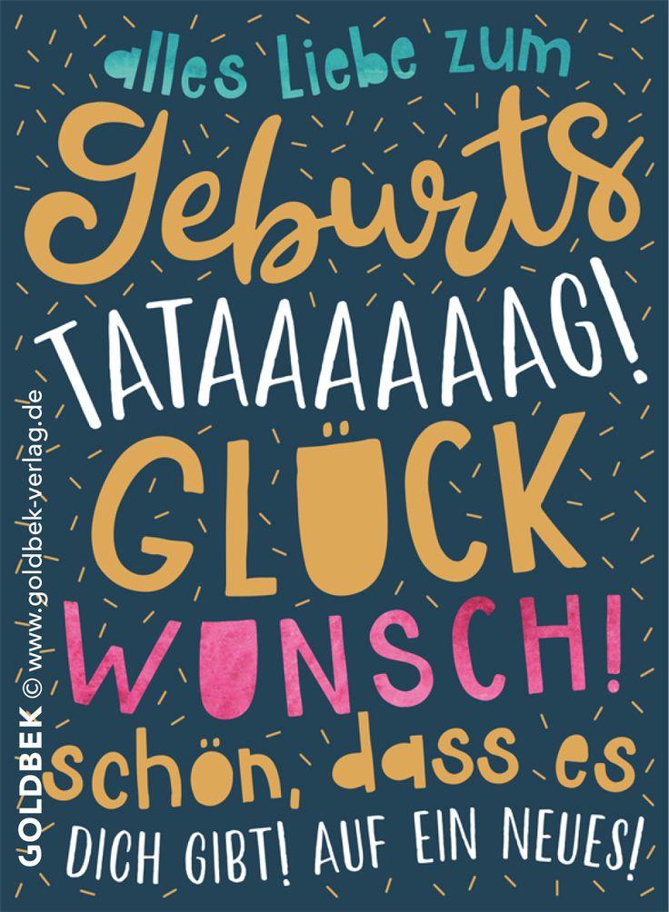 Postkarten – Geburtstag. Moderne Typo-Karte mit schönem Goldlack veredelt. – Nadine