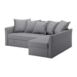 IKEA - HOLMSUND, Corner sofa-bed, Nordvalla medium grey, , Cover made of extra hard-wearing polyester with a dense texture.Storage space under the chaise longue. The lid stays open so you can safely and easily take things in and out.You can angle the loose back cushions any way you like, and adapt the seat depth and back support to suit your needs.You can place the chaise longue section to the left or right of the sofa, and switch whenever you like.The cover is easy to keep clean as it is…