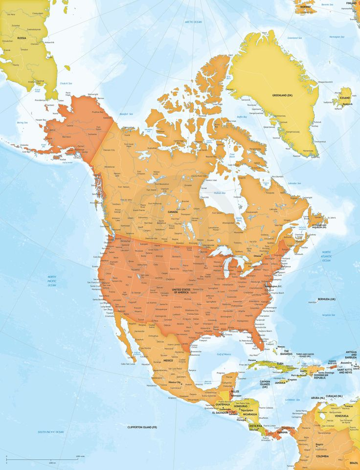 map of america continent