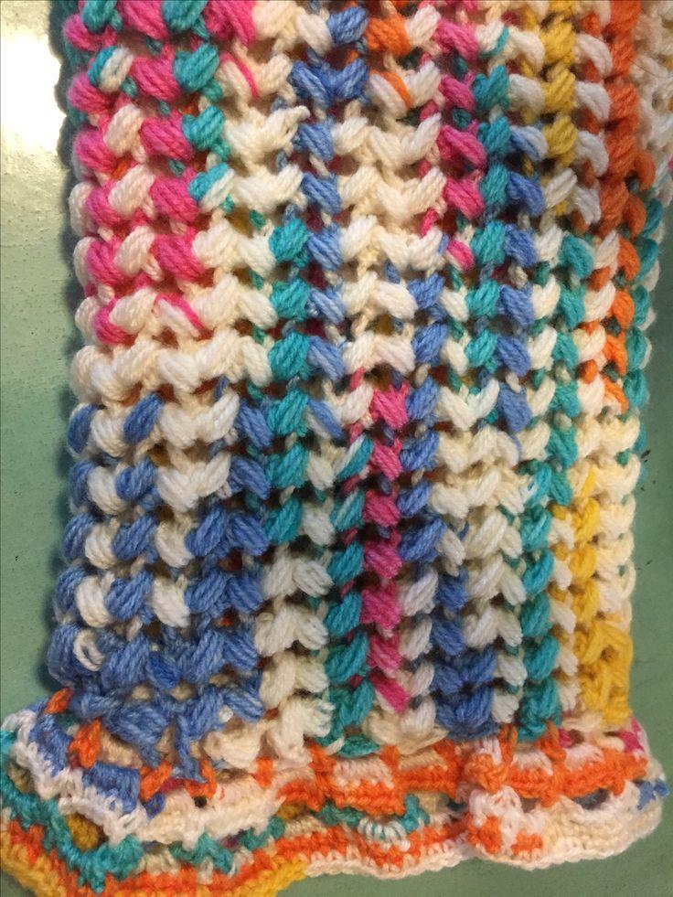 Zig zag puff stitch crochet blanket for Baby Reef