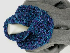 Hour and a Half Cowl - very cool, uses 4 strands of yard, this one shows diff colours