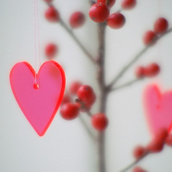 Small Hearts in neon red transparent lasercut by spagat on Etsy, $13.00