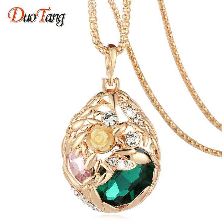DuoTan Brand Long Necklace Gold Plated Popcorn Chain Austrian Crystal Jewelry Pendant Necklaces Women Gift Rose Flower Necklace