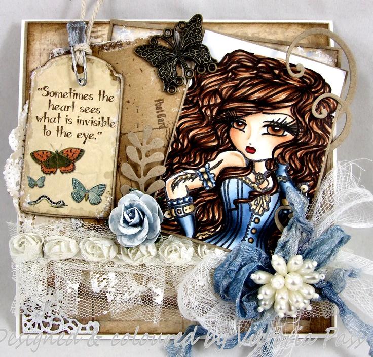 "Hannah Lynn stamp from Crafts & Me ""Heather"" Steampunk Victorian Girl w/ Goggles Digi Stamp HannahLynn.com"