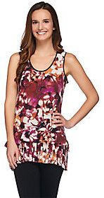 As Is LOGO by Lori Goldstein Printed Crepe Sleeveless Tunic Top