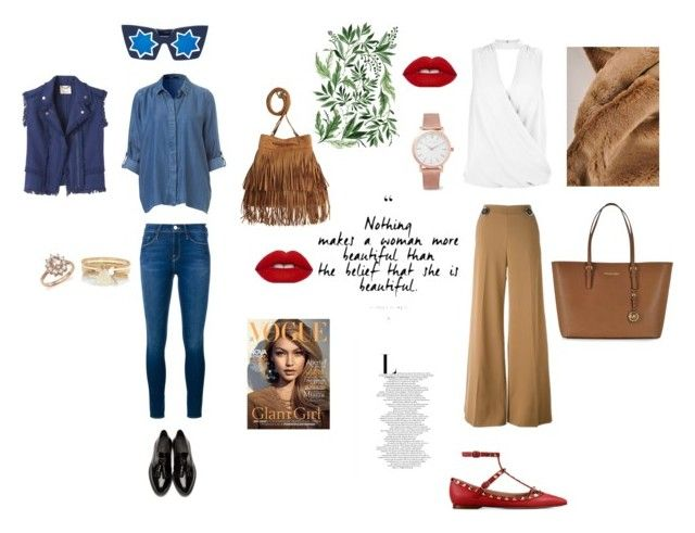 """Untitled #22"" by aliza-ahmed on Polyvore featuring Frame Denim, Burberry, H&M, Bloomingdale's, River Island, Linda Farrow, Rebecca Taylor, New Look, STELLA McCARTNEY and Valentino"