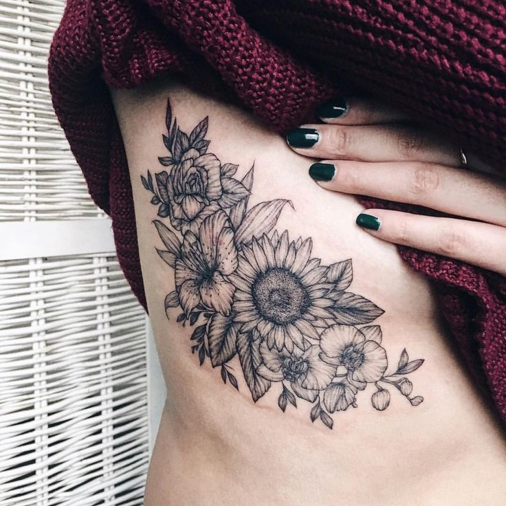 """1,442 Likes, 12 Comments - Yaana Gyach • tattoo artist (@yg.tattooing) on Instagram: """"lilyrose  , sunflowerand orchids for Julia from California☀️ ✖️yg.tattooing@gmail.com • • •…"""""""