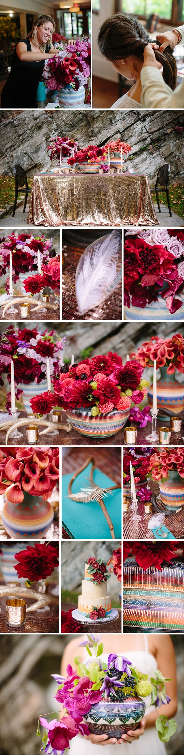 Southwestern Inspired Tabletop Design, Antlers, New Mexico, Vibrant Colors, Dahlia, Gold Sequin Linen