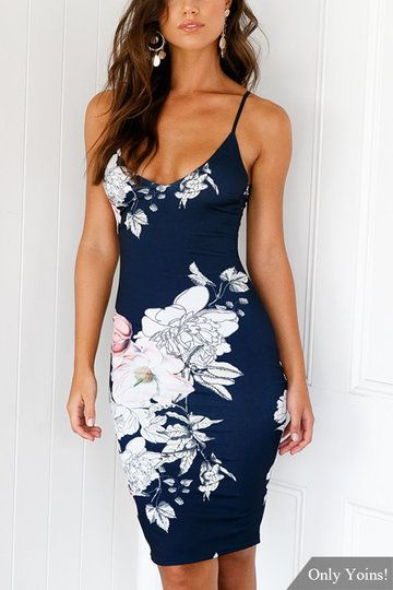 Navy Sleeveless Random Floral Print Backless Dress with Adjustable Belt