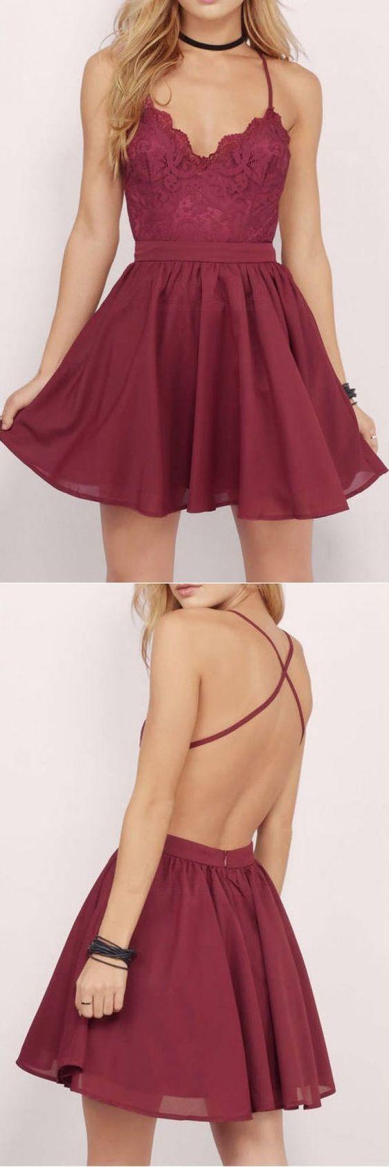 Burgundy Homecoming Dress, Short Homecoming Dress, Lace Homecoming Dress, Chiffon Homecoming Dress 0615