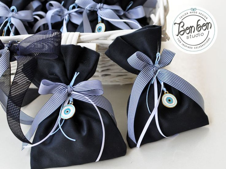 Handmade pouches in navy blue with eye charm