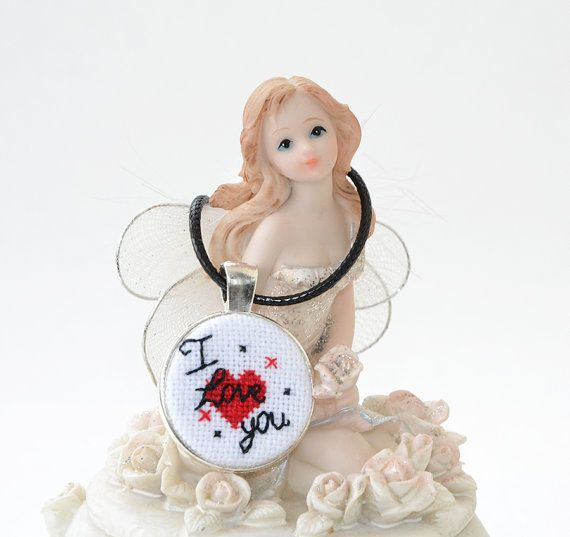 FREE SHIPPING Valentine's day Red heart Cross Stitch by Anilachan