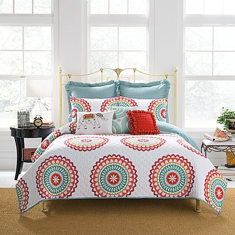 Liven up your bedroom with the vibrant Anthology Bungalow Quilt. The eye-catching bedding brings a bohemian flair with a contemporary twist, brought to life with an eclectic color palette of corals with sage and aqua accents.
