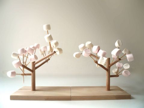 cool marshmallow trees, though I'd probably use real twigs and branches for the kids to decorate with
