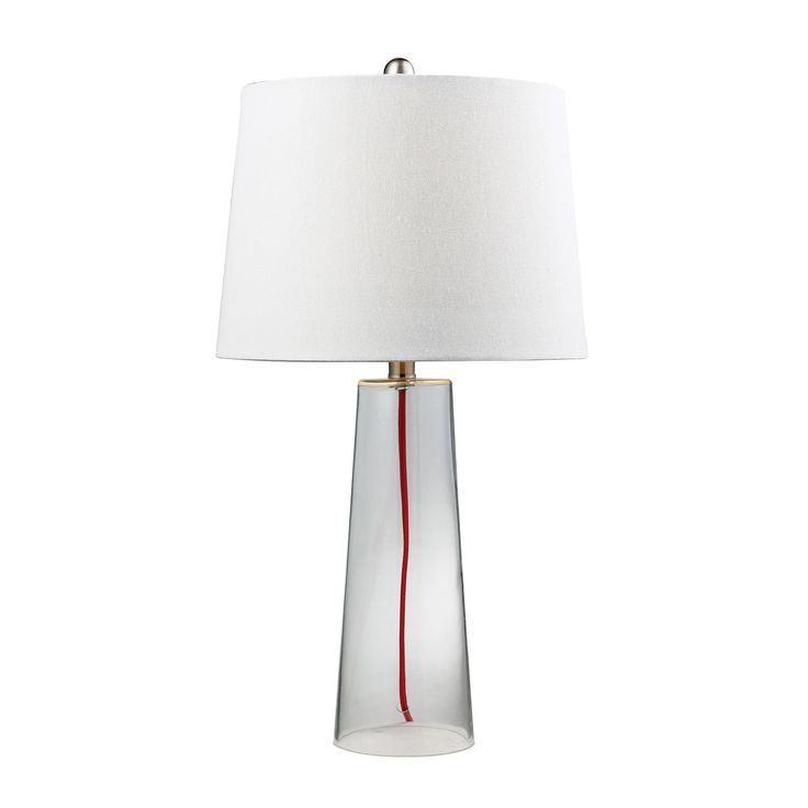 Clear Glass Table Lamp With Red Cord