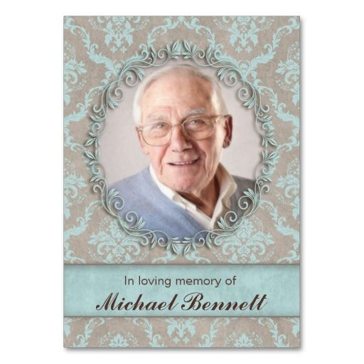 Memorial Photo Card Vintage Damask Blue Brown Business Card Templates $28.95 / 100 pack :: click for SALES!!