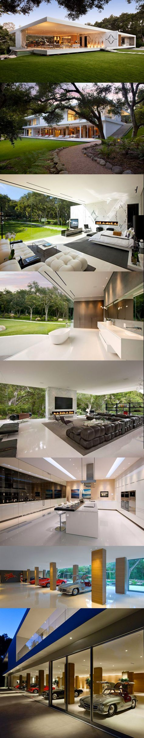 #Architecture / The Glass Pavilion by Steve Hermann - Gorgeous how the loadbearing walls are used in this residential house, allowing the house to be completely open.