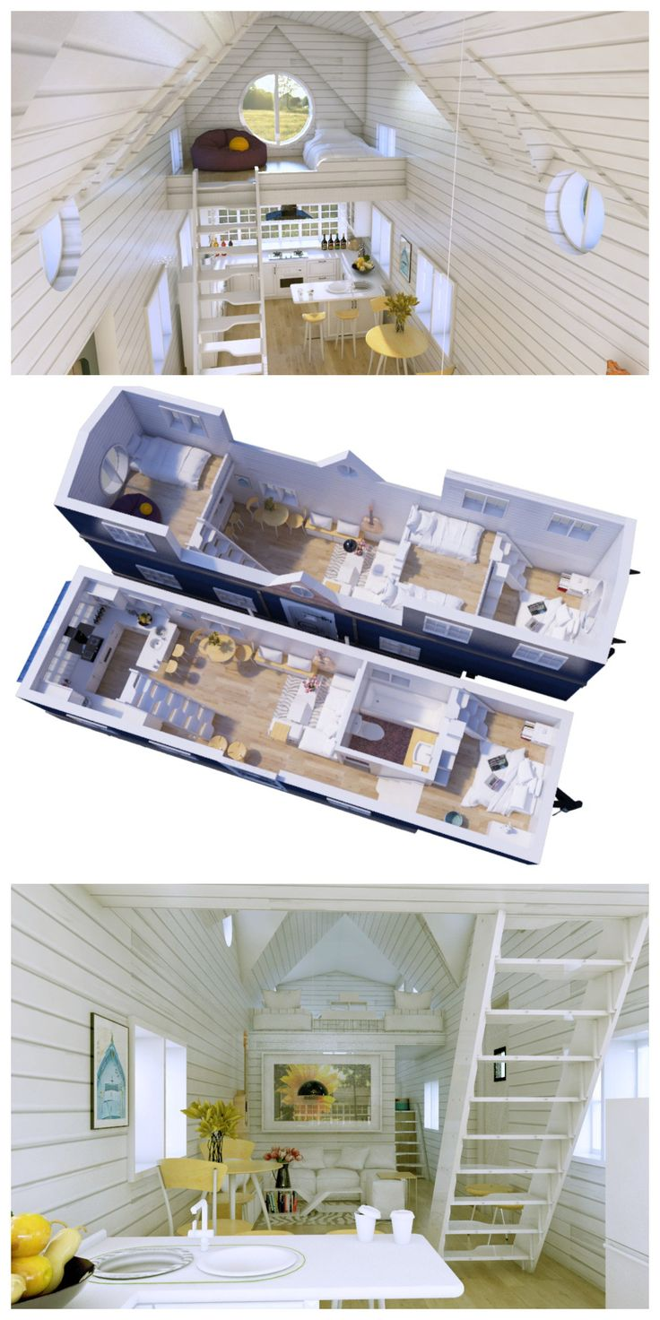 Family Sized Tiny House Interior - 3 levels - first floor, bedroom on gooseneck (2nd level) & two lofts