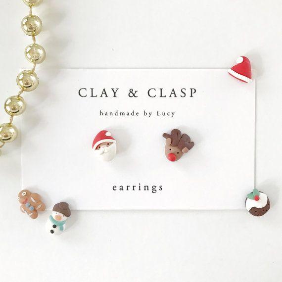 Kerst oorbellen mooie handgemaakte polymeer klei door ClayandClasp