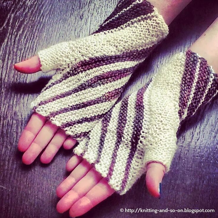 """Free Knitting Pattern: Windings Mitts These """"garter stitch only"""" mitts are constructed from two rhomboids - the thumb panel and a main part. Short row triangles in wind their way around your wrists creating a unique pattern."""
