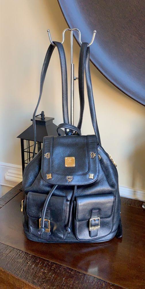 9927d6087dd7d0 Authentic MCM Vintage Black Leather W/ Golden Studded Logo Motifs Small Back