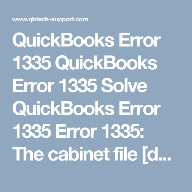 QuickBooks Error 1335 QuickBooks Error 1335 Solve QuickBooks Error ...
