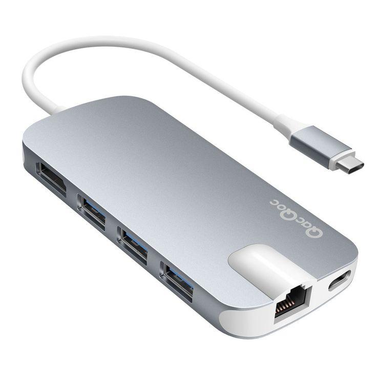 EgoIggo HUB USB C Type-C QacQoc vers 3 Ports USB 3.0, 2 lecteurs de cartes SD, micro SD, Slot HDMI, Port Ethernet (Gigabit LAN), et puissance de Charge pour pour les périphériques de type C tels que MacBook, MacBook Pro, Mac Mini, Google Chromebook (SPACE GRAY) Charge Non Supporté pour Asus ZenBook 3