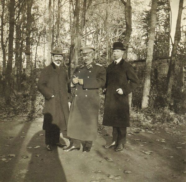 Pierre Gilliard (French tutor), Professor Pyotr Vasilievich Petrov (Russian tutor) and Charles Sydney Gibbes (English tutor) in 1915.