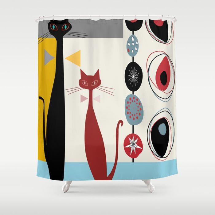 Buy Mid Century Modern Cats Shower Curtain By Oldurbanfarmhouse