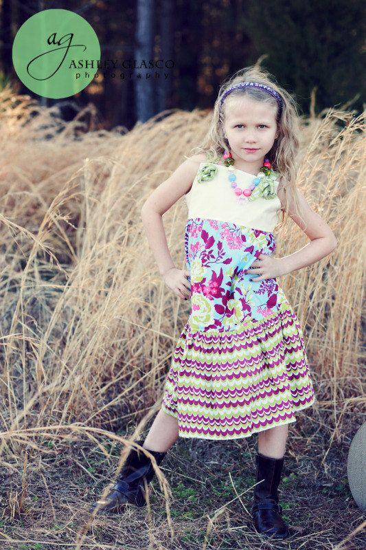 Girls Purple Green and Ivory Twirl Knot Dress by StitchToStitch, $42.00