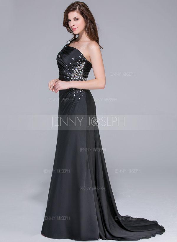 Trumpet/Mermaid One-Shoulder Watteau Train Satin Chiffon Prom Dress With Ruffle Beading (018025651) - JennyJoseph
