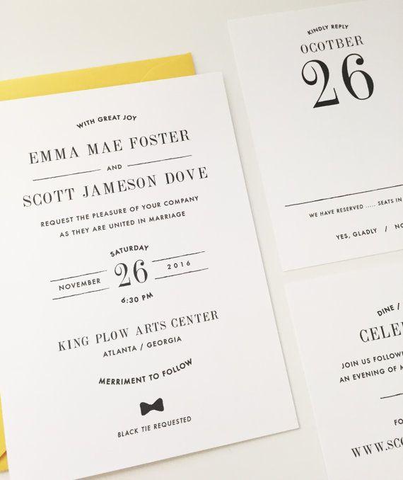 Simple Wedding Invitation, Custom Wedding Invitation, Modern Wedding Invitation, Minimal, Stylish, Bow Tie, Classic, Letterpress, Foil