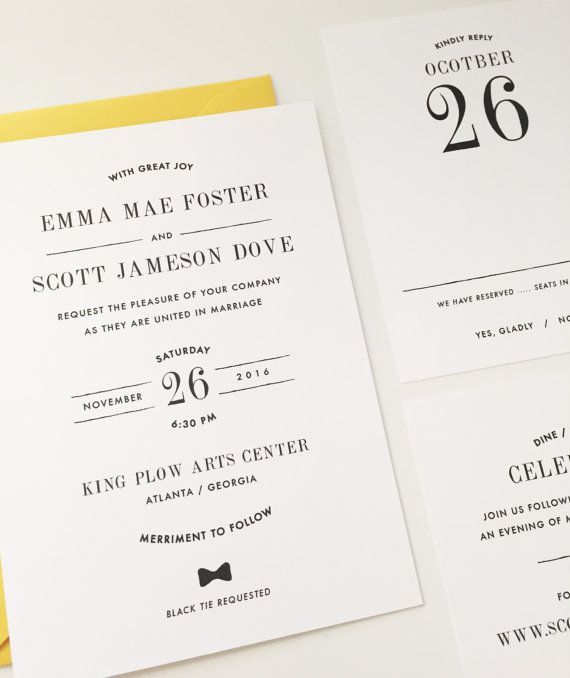 simple black and white wedding invitation with yellow envelopehttp://www.awin1.com/cread.php?awinmid=6220&awinaffid=228501&clickref=TOB&p=https%3A%2F%2Fwww.etsy.com%2Flisting%2F213858132%2Fsimple-wedding-invitation-modern-wedding%3Fga_order%3Dmost_relevant%26ga_search_type%3Dall%26ga_view_type%3Dgallery%26ga_search_query%3Dsimple%2520wedding%2520invitation%26ref%3Dsc_gallery_2%26plkey%3Db5726545d942974e6930e703e14cd0735e3f0620%3A213858132