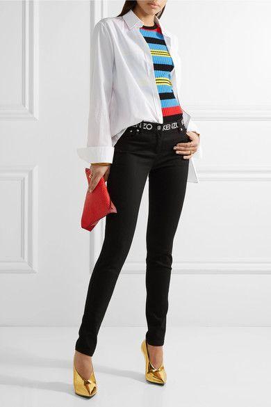 KENZO - Printed Mid-rise Skinny Jeans - Black - FR38