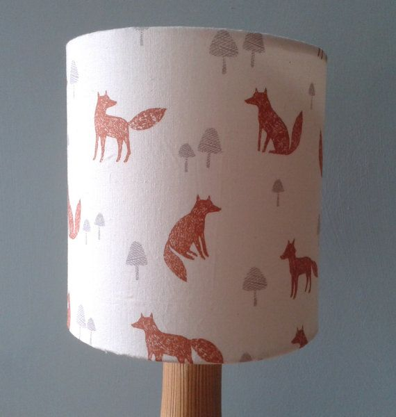 Foxes Fabric covered Lampshade
