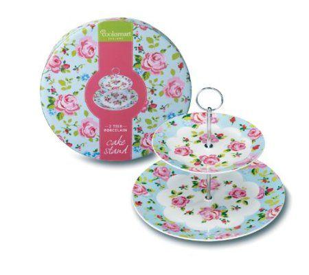 Cooksmart Vintage Floral 2-Tier Porcelain Cake Stand, Multi-Color: Amazon.co.uk: Kitchen & Home