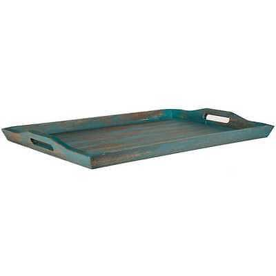 XXL Turquoise Wood Serving Tray,Large Ottoman Tray Shabby Chic Decor (NO TAX)