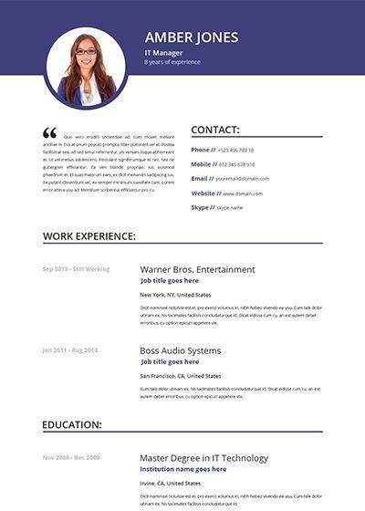 Cv Template Online 1-Cv Template Resume templates, Resume