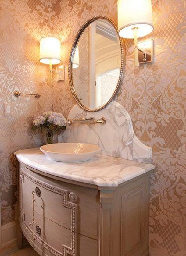 кружевные обои в ванной комнате